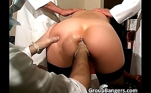 Three horny doctors fellow-feeling a amour this slut