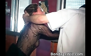 Tied brunette gets spanked and marital-device