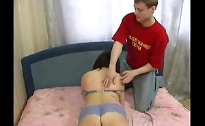 Chubby russian mommy jumping on young cock