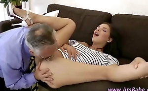 Brunette slut gets eaten out and on one's guard for a good age-old fucking