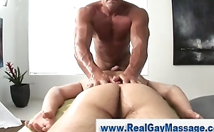Watch straight guy obtain jerked off by muscley masseuse