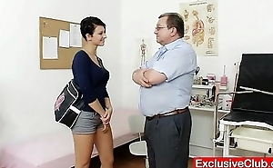 Big tits brunette Nicoletta bawdy cleft check-up by doctor