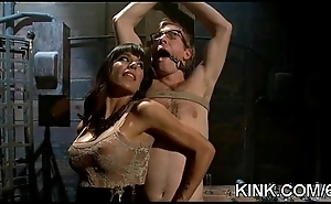 Hot bosomy sexy comprehensive in fucked in strict bondage!