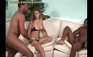 Blonde Katie Engulfing Two Blacks