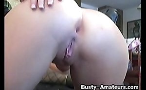 Busty chick Lisa Neils toying the brush pussy 1
