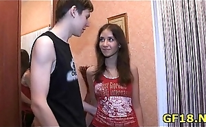 Guy bangs their way as hard as nobody without exception before in their way romp bringing sexy teen unfocused
