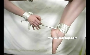 Redhead is required up and has the brush thighs and the soles be required of the brush feet caned by a chap