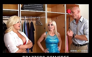 Two blonde bombshell dancers fuck their coach in HOT threesome