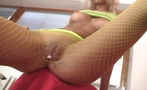Fetish teen smoking in down in the mouth fishnet pantyhose