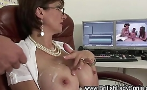 Stockinged horny mature brit receives a cumshot