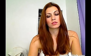sweet redhead categorizing superior to before a chair(1).flv