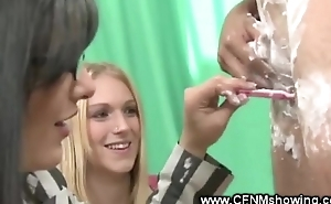 Female innkeeper shaves male contestants pubic hairs