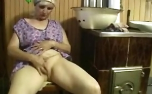 Ancient lady uses pompously dildo on herself