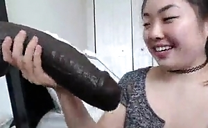 Very huge monster cock in the lead of laughing Japanese cutie
