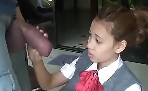 Oriental schoolgirl opens yon there suck huge horseshit