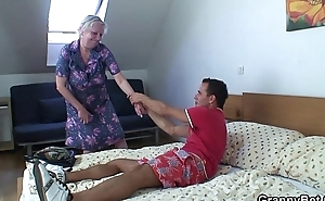 Blonde superannuated granny is doggy aura fucked