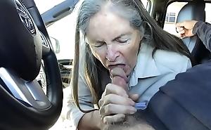 granny blow job bring together to motor vehicle - cum