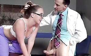 Sexy safe keeping in glasses gets properly fucked by her conspirator
