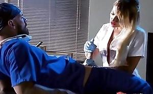 Whorish blonde nurse engulfing and fucking doctor's hard cock