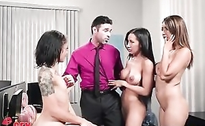 Charles is lucky to fuck three beautiful babes almost the office