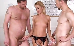 Nice cute election worker plays with her fur pie regarding baleful stockings and being fucked by 2 studs