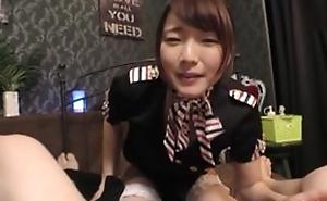 Fabulous Japanese lady in white stockings enjoys balldeep gender