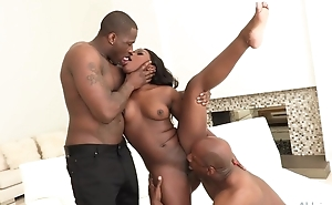 All-natural ebony gets both of her holes up to here huge dicks