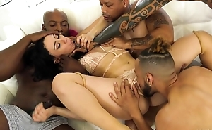 BBC loving nympho gets group-fucked in the thronging room