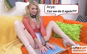 Blonde-haired floosie in fishnet pantyhose gets fucked really hard