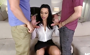 Hot Russian MILF banged at the end of one's tether will not hear of stepson and his best friend