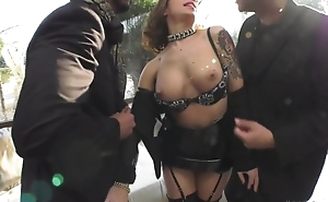 Wild hooker takes two big beefy dongs in her ass