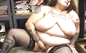 Fat mature involving perfidious stockings fucks herself with sextoy