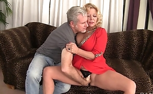 Curvy flaxen-haired mature there natural boobs gets rewarded there a to one's liking fuck