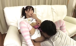 Lovable Japanese girl with pigtails gets a nice fuck