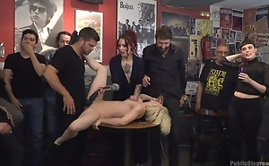Submissive Spanish slut receives roughly fucked while crowd is watching