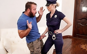 Gorgeous cop lady with big juggs fucks bearded stallion