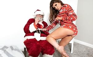Rebellious porn star fucks say no to lover in front of Santa