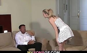 Lovely young blonde falls for her BF'_s dad