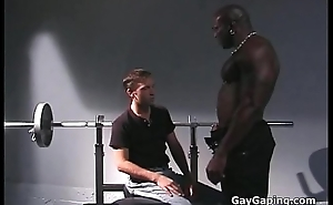 Horny white unconcerned gets black fucked near the gym